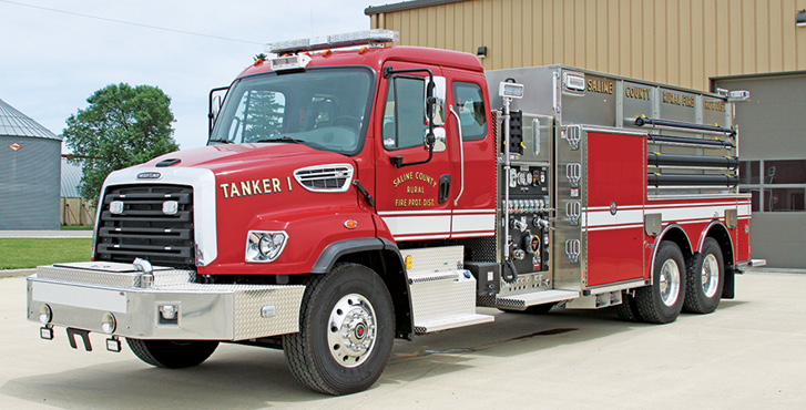 Toyne—Saline County Rural Fire Protection District, Marshall, MO, pumper-tanker. Freightliner SD114 2-door extended cab and chassis; Cummins L9 450-hp engine; Waterous CS CPK-2 1,250-gpm PTO pump; UPF Poly 3,000-gallon water tank; Zico hydraulic portable tank rack; stainless steel fire body. Dealer: Toyne Inc., Breda, IA.