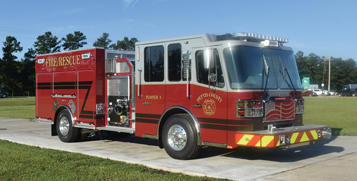 Ferrara—Pettis County Fire Protection District, Sedalia, MO, top-mount pumper. Cinder 4-door cab and chassis; Cummins L9 450-hp engine; Waterous CSU 2,000-gpm pump; 1,000-gallon polypropylene water tank; 30-gallon foam cell; FoamPro 1600 single-agent foam system; Whelen LED lighting package. Dealer: Chris Thompson, Fire Master Fire Equipment, Springfield, MO.