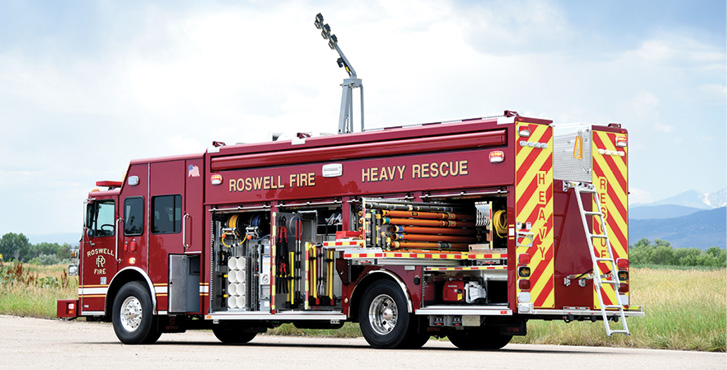 SVI Trucks—Roswell (GA) Fire Rescue heavy rescue. Sutphen Monarch cab and chassis; Cummins X12 500-hp engine; 22-foot partial walk-in rescue body; Command Light Knight 2 series light tower with 6 Pioneer Plus LED lights; Onan 15-kW generator; Carefree Mirage patio awning; OnScene Solutions heavy-duty cargo slides, Resolve Space Saver fill station. Dealer: Williams Fire Apparatus, Ashland, AL.