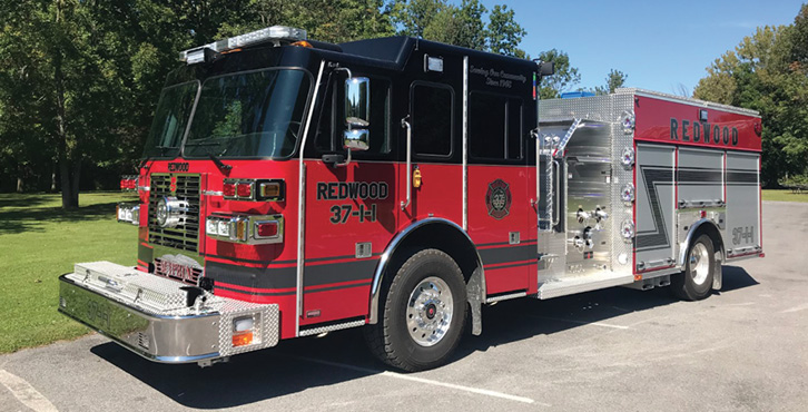 Sutphen—Redwood (NY) Fire District rescue-pumper. Monarch cab and chassis; Cummins L9 450-hp engine; Hale Qmax 1,500-gpm pump; 1,000-gallon polypropylene water tank; 30-gallon foam cell; FRC LED scene lights; Whelen LED warning light package. Dealer: Nick Catalino, Vander Molen Fire Apparatus Sales and Service, Syracuse, NY.