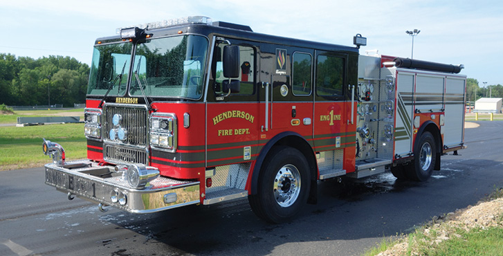 Seagrave—Henderson (KY) Fire Department FASTrack pumper. Marauder stainless steel tilt cab and chassis; Cummins L9 450-hp engine; Waterous CSUC20E 1,500-gpm pump; Pro Poly 750-gallon polypropylene water tank. Dealer: Dennis Downes, Fire and Specialty Equipment, Shepherdsville, KY.