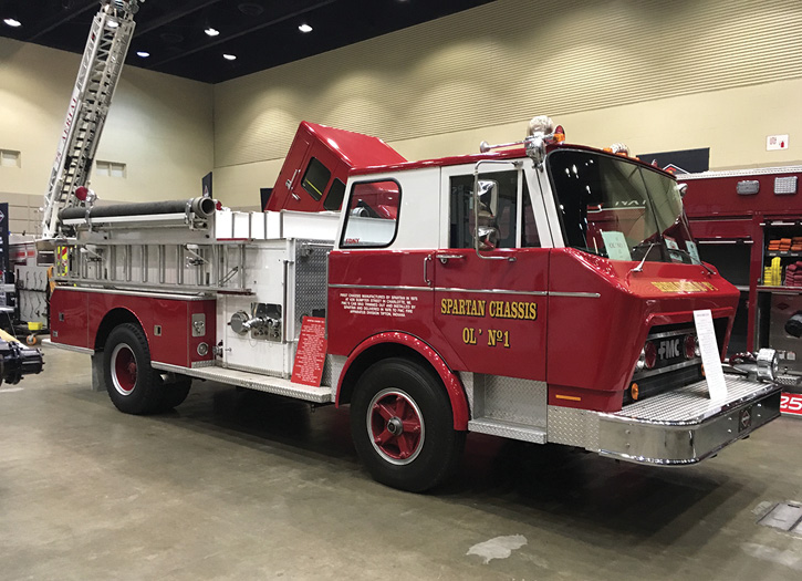 The first chassis manufactured by Spartan in 1975. An FMC cab was trimmed out and installed by Spartan and delivered to the FMC Fire Apparatus Division in Tipton, Indiana, in 1976. The rig's first owner was the Covington (OH) Fire Department.