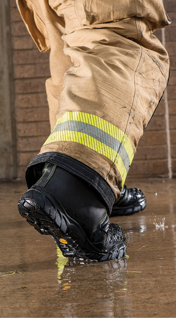 MSA Safety/Globe makes the Globe SupraFlex™ structural fire boot with a leather and Dragonhide® fabric upper and a composite material molded foot bed with a Vibram® outsole for greater flexibility. (Photos 1-3 courtesy of MSA Safety/Globe.)
