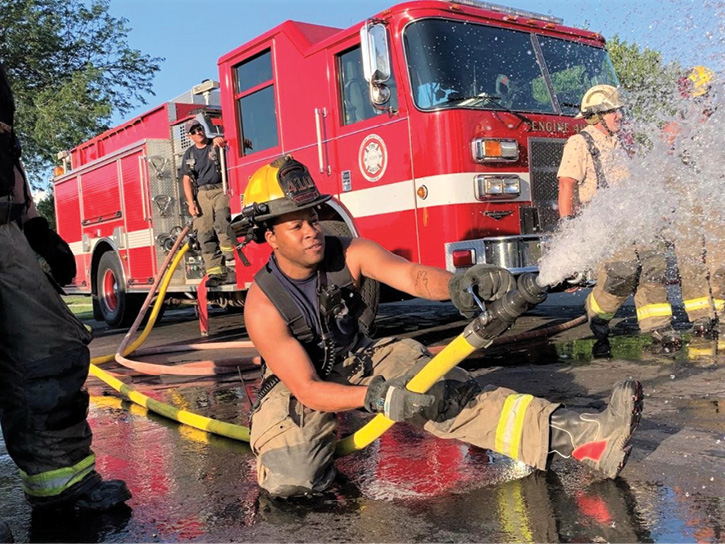 Fredericktown Community (OH) Fire District firefighters during a training exercise wearing Fire-Dex FDL100 leather structural boots. (Photos 4-5 courtesy of Fire-Dex.)