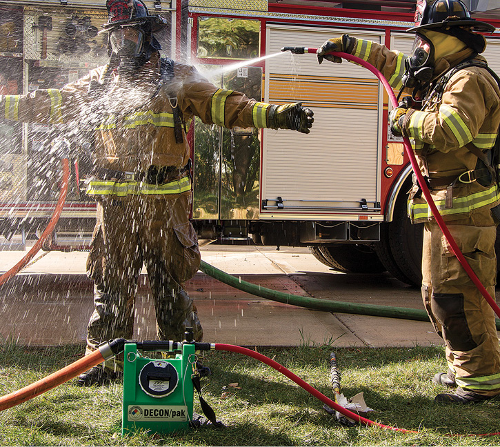 Task Force Tips makes the DECON/pak Portable Decontamination System, a 2½-gallon concentrate tank that can inject decon agents from 0.1 to 0.5 percent and puts out 12 gpm at 100 psi. (Photos 1-2 courtesy of Task Force Tips.)
