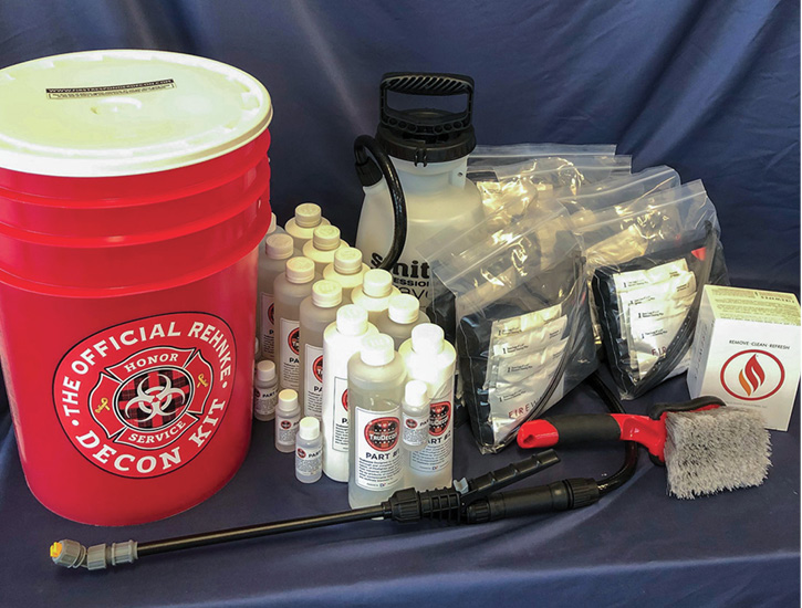 The Official Rehnke Decon Kit is designed to decon a crew of four firefighters.