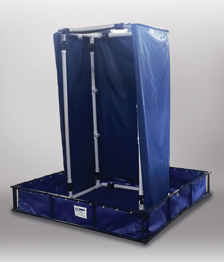 The Husky decon shower system includes a PVC shower with four shower heads and is available with elevation grids and shower curtains.
