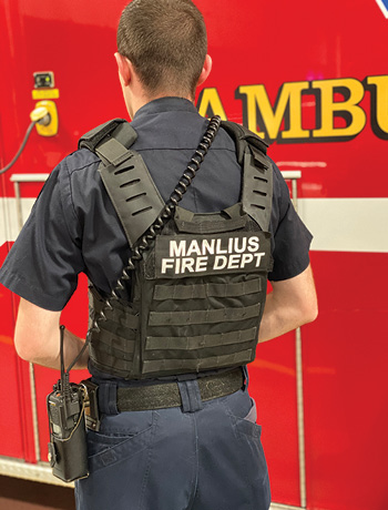 The Manlius (NY) Fire Department has 20 ballistic vests in service that hold either steel or composite rifle plates and have MOLLE straps to attach equipment. [Photo 4 courtesy of the Manlius (NY) Fire Department.]