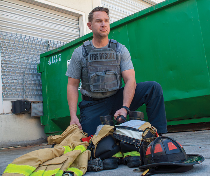 A firefighter wears Point Blank's FRK1080 soft armor over his duty shirt. (Photo 5 courtesy of Point Blank Enterprises.)