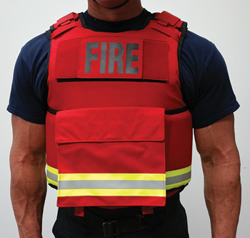 Fire Armor LLC makes the First Responder Carrier, a one-size-fits-most ballistic vest carrier that can take soft armor panels or hard armor plates. The carrier has a bunker gear pocket on its front. (Photo 10 courtesy of Fire Armor LLC.)
