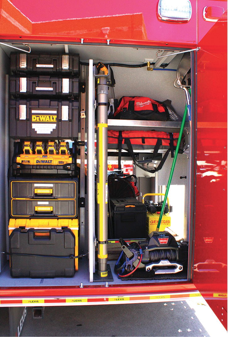 """The rig's portable 10,000-pound electric winch, """"Man-in-Machine"""" kit, 20-volt hand tools, power inverter, door spreader, and Paratech struts."""