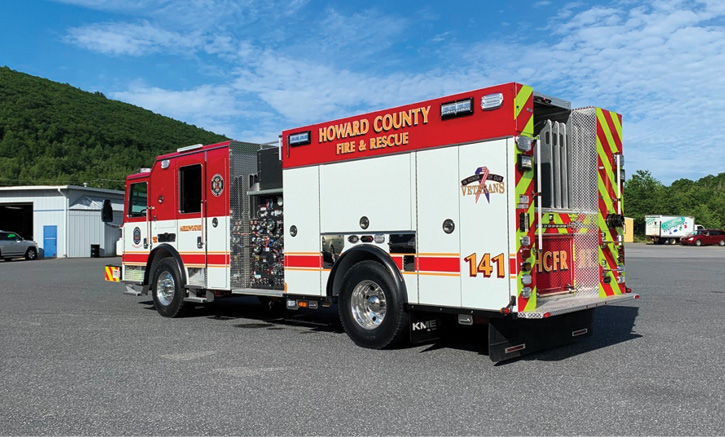 The unit is powered by a Cummins 450-hp L9 engine and an Allison 3000 EVS automatic transmission with a parabolic front suspension, a Meritor 20,000-pound front axle, and a Meritor 24,000-pound rear axle.