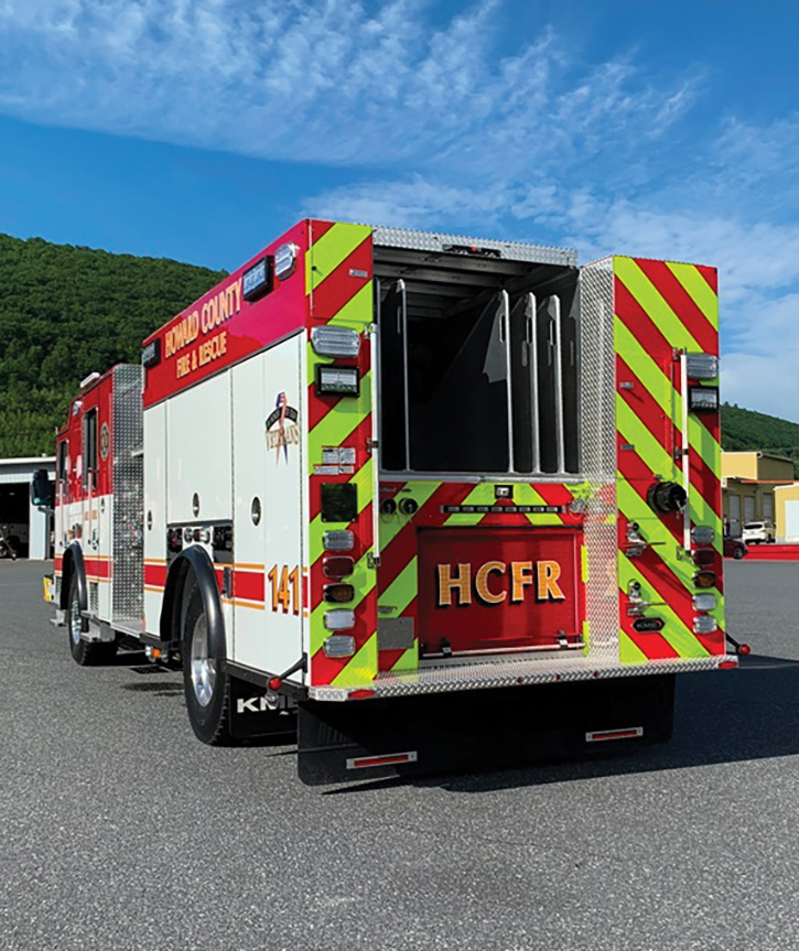 The pumper's hosebed is set up to carry 1,000 feet of 4-inch LDH, 600 feet of 3-inch supply line, 200 feet of preconnected 2½-inch hose with a Task Force Tips Blitzfire nozzle, and two preconnected 1¾-inch attack lines of 300 feet each.