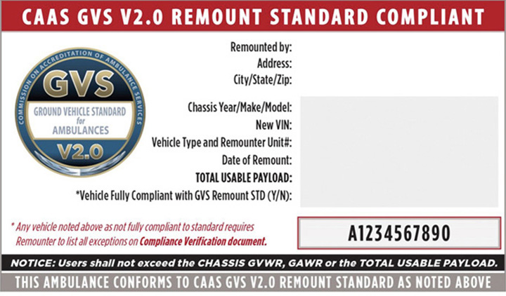 The remount compliance sticker and accompanying documents are coded in red and provide critical vehicle information.