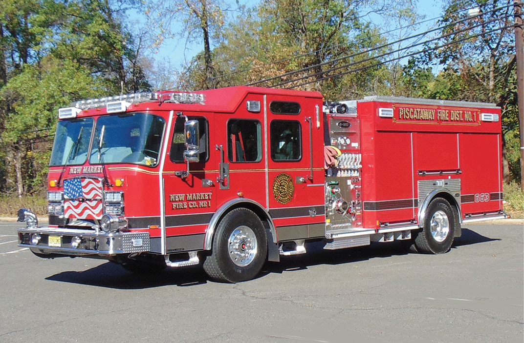 E-ONE—New Market Fire Company No.1, Piscataway Township, NJ, pumper. Cyclone cab and chassis; Cummins X12 500-hp engine; Hale Qmax 2,000-gpm pump; UPF Poly 780-gallon water tank; Smart Power 6-kW generator; TFT Hurricane RC monitor; FRC Spectra scene lights. Dealer: Tony Amoroso, Absolute Fire Protection, Plainfield, NJ. (Photo by John M. Malecky.)
