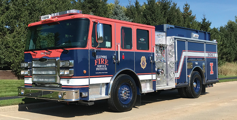 Pierce—Illinois Fire Service Institute, Champaign, IL, pumper. Enforcer cab and chassis; Cummins L9 380-hp engine; Darley EM 1,500-gpm two-stage pump; UPF Poly 500-gallon water tank. Dealer: Mike Yurgec, Global Emergency Products, Aurora, IL.