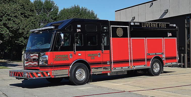 Rosenbauer—Luverne (MN) Fire Department pumper. Commander cab and chassis; Cummins L9 450-hp engine; Waterous CSC20C 1,250-gpm pump; 750-gallon polypropylene water tank; 20-gallon foam cell; Smart Power 6.2-kW generator; Command Light Knight2 KL408 light tower. Dealer: Heiman Fire Equipment, Sioux Falls, SD. (Photo by Paul Barrett.)