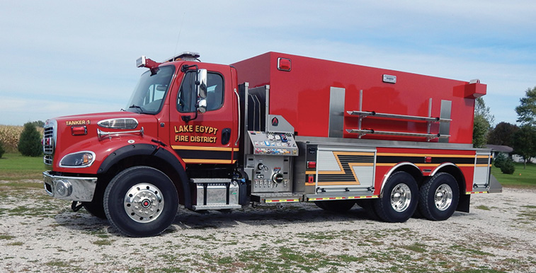 Alexis—Lake Egypt Fire Protection District, Marion, IL, pumper-tanker. Freightliner M2 cab and chassis; Detroit DD13 12.8L 450-hp engine; Waterous CXVK 1,000-gpm pump; 3,000-gallon polypropylene water tank; one Newton 10-inch square electric swivel dump with 36-inch manual extension. Dealer; Stan Froelich, Alexis Fire Equipment, Alexis, IL.