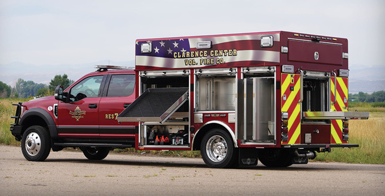 SVI Trucks—Clarence Center (NY) Fire Department light rescue. Ford F-550 Crew Cab and chassis; Ford Power Stroke 6.7L V8 Turbo diesel engine; 12-foot walk-around rescue body; OnScene Solutions cargo slides; Command Light Knight 2 light tower with 4 FRC Spectra fixtures; Warn Zeon 10,000 -pound 12-volt electric winch. Dealer: SVI Trucks, Fort Collins, CO.
