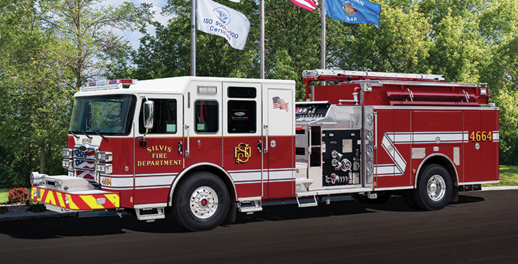 """Pierce—Silvis (IL) Fire Department pumper. Enforcer cab and chassis; """"Clean Cab Concept;"""" Cummins L9 450-hp engine; Waterous CSU 1,500-gpm pump; UPF Poly 1,000-gallon water tank; 20-gallon foam cell; Pierce Husky 3 Class A foam system;. Dealer: Randy Buttliere, Global Emergency Products, Aurora, IL."""