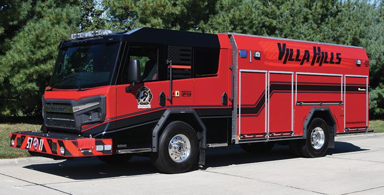 Rosenbauer—Villa Hills Fire Department, Belleville, IL, pumper. Avenger 6011 cab and chassis; Cummins L9 450-hp engine; Rosenbauer N 1,500-gpm rear-mount pump; Pro Poly 1,000-gallon polypropylene water tank; 30-gallon foam cell; FoamPro 2001 Class A foam system; Rosenbauer FX aluminum body; Rosenbauer lever bank pump controls. Dealer: Brian Franz, Sentinel Emergency Solutions, Arnold, MO.
