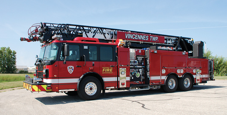 Smeal—Vincennes Township (IN) Fire Department 105-foot aerial ladder quint. Spartan/Smeal Sirius MFD cab and chassis; Cummins X12 500-hp engine; Waterous CSU 2,000-gpm pump; UPF Poly 500-gallon water tank; 20-gallon foam cell; FoamPro 2001 single-agent foam system; Harrison 10-kW generator; Akron StreamMaster monitor with TFT valve under monitor (VUM); FRC Spectra LED scene lights. Dealer: Tim Schwartz, Hoosier Fire Equipment Inc., Greenfield, IN.