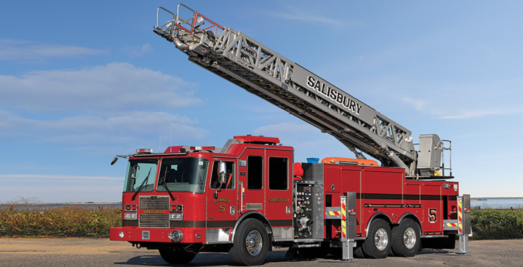 KME—Salisbury (MA) Fire Department, 103-foot Tuff Truck rear-mount aerial ladder quint. Severe Service cab and chassis; galvanized frame rails; Cummins X12 500-hp engine; Hale Qmax-XS 1,500-gpm pump; UPF Poly 650-gallon water tank; four-section AerialCat ladder; 500-pound (wet) tip load flowing 1,500-gpm. Dealer: Jeff Mazda, Bulldog Fire & Emergency, Woodville, MA.