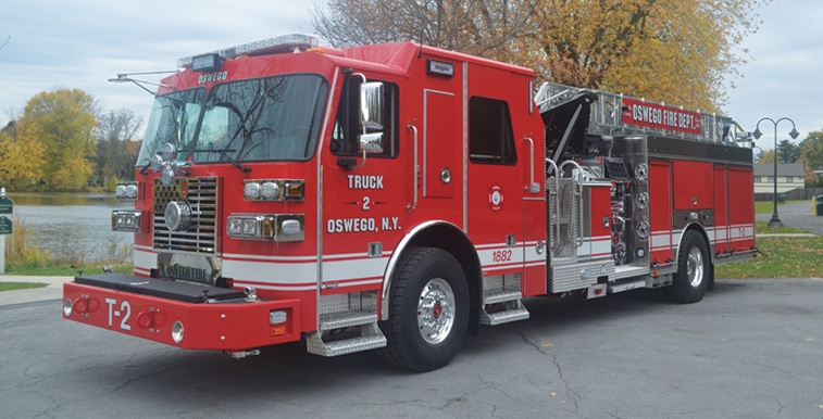 Sutphen—Oswego (NY) Fire Department SL75 single axle 75-foot aerial ladder quint. Monarch cab and chassis; Cummins L9 450-hp engine; Hale Qmax 1,500-gpm pump; 500-gallon polypropylene water tank; Harrison 8-kW generator. Dealer: Nick Catalino, Vander Molen Fire Apparatus Sales and Service, Syracuse, NY.
