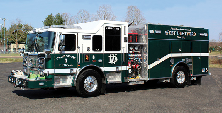 Seagrave—Thorofare Volunteer Fire Company, West Deptford Township, Thorofare, NJ, rescue-pumper. Marauder stainless steel tilt cab and chassis; Cummins L9 450-hp engine; Waterous CMU 2,000-gpm two-stage pump; 500-gallon polypropylene water tank; 30-gallon Class A foam cell and 50-gallon Class B foam cell for future foam system. Dealer: Todd Fell, Seagrave Fire Apparatus, East Brunswick, NJ. (Photo by Dennis C. Sharpe.)