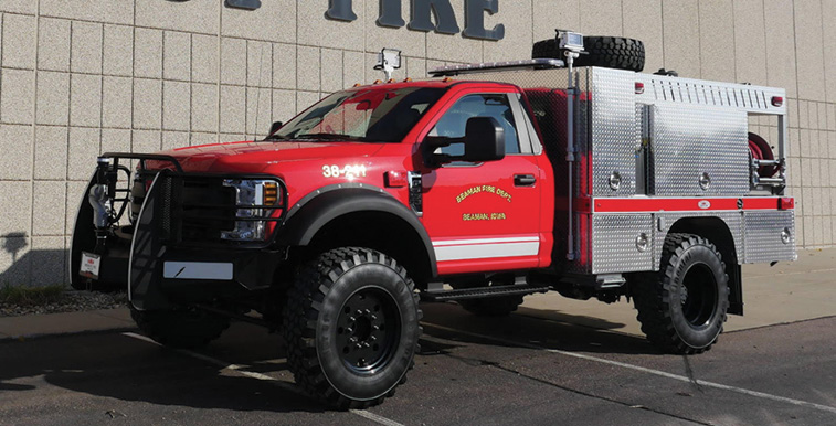 Midwest Fire—Beaman (IA) Volunteer Fire Department brush truck. Ford F-550 cab and chassis; Ford 6.8L V10 288-hp engine; Darley 2BE 18V 300-gpm portable pump; UPF Poly 400-gallon tank; 12-gallon foam cell; TFT Tornado RC electric monitor; Trident Foam Mate 1.0 single-agent foam system; Continental MPT 81 super single tires. Dealer: Joseph Juhl, Midwest Fire, Luverne, MN.
