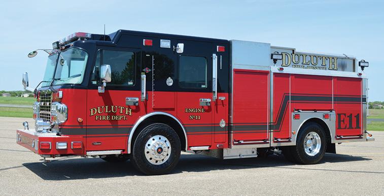 CustomFIRE—Duluth (MN) Fire Department pumper. Spartan Metro Star cab and chassis; Cummins L9 450-hp engine; Waterous CMU 1,500-gpm pump; Pro Poly 500-gallon polypropylene water tank; 30-gallon foam cell; FoamPro 2001 single-agent foam system; Smart Power 8-kW generator; aluminum hosebed covers. Dealer: Wayde Kirvida, CustomFIRE, Osceola, WI.