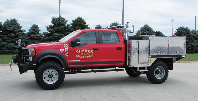 Danko—Wisner (NE) Volunteer Fire Department wildland unit. Ford F-550 Crew Cab and chassis; 6.8L 3-valve SOHC engine; UPF Poly 400-gallon water tank; 12-gallon foam cell; Waterous 2515LE portable pump with 23-hp Kubota engine; Foam Pro 1601 Class A foam system; TFT EF1 monitor; Fab Fours front bumper replacement. Dealer: Mike Semerad, Danko Emergency Equipment, Snyder, NE.