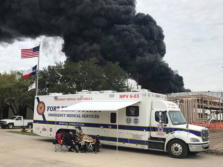 The MPV can transport up to 20 littered patients, 25 seated patients, or a combination of both, depending how the body is configured for the mission. Shown here is the MPV built for Fort Bend County, Texas. (Photos courtesy of General Truck Body.)