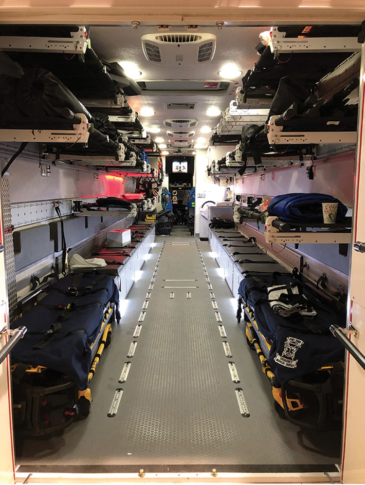 The body interiors feature ample storage, which is placed wherever practical and accessible. For instance, there's storage under the bench seats, which run nearly the entire length of the apparatus on each side and serve as space for litters. It also has exterior storage and secured storage for narcotics.