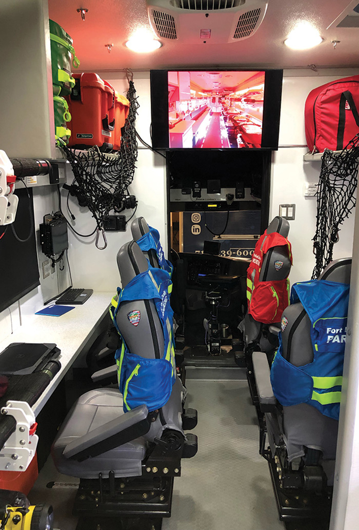The South Bend County unit has four operators' stations in the front, and those seats can be moved to patient care areas as needed. The interior wall coverings and cabinets can be aluminum plate; fiberglass; and, in some cases, plywood so tools and equipment can be mounted for storage.