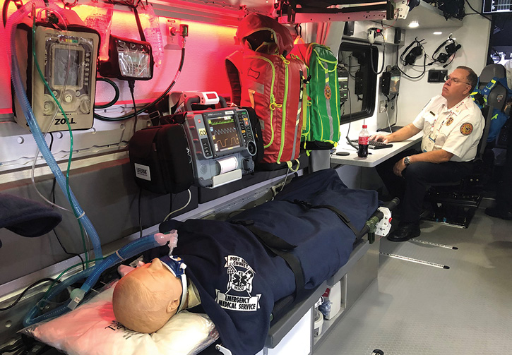The interior of the South Bend County, Texas, MPV during a multicasualty incident demo.