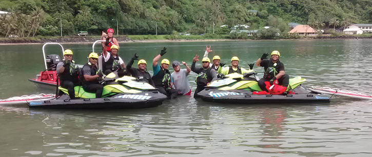Instructors and students with the Pago Pago International Airport's quick-response, search-and-rescue-style Sea-Doo watercraft with Liquid Shredder inflatable rescue boards. (Photo courtesy of the author.)