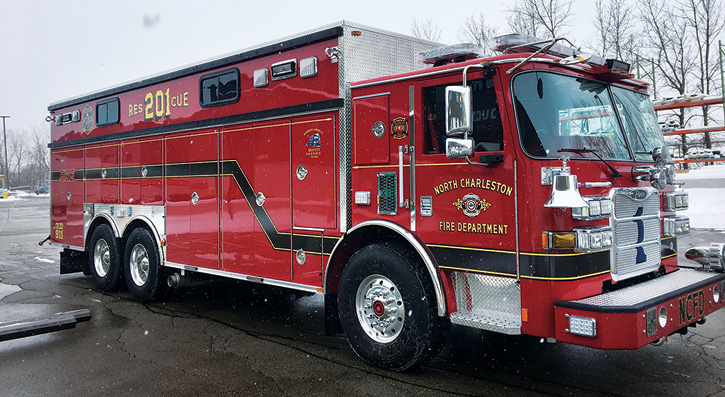 The North Charleston technical rescue is powered by a Cummins 505-hp X15 engine and an Allison 4000 EVS automatic transmission and has a Jacobs engine brake