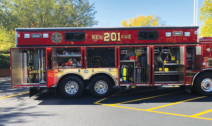 The technical rescue truck also carries rope rescue gear for high-angle rescue; throw bags for water rescue; PFDs for each firefighter on the truck; hazmat equipment; and collapse, trench rescue, and confined space gear.