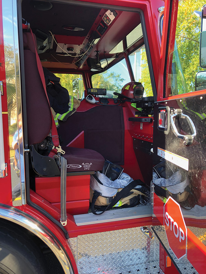 The officer's side of the Arrow XT cab on the heavy technical rescue truck.