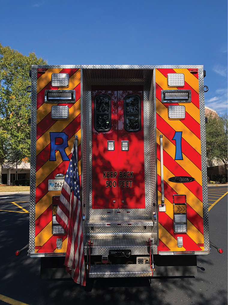 Entry to the walk-in section of the technical rescue truck is through the rear of the vehicle.
