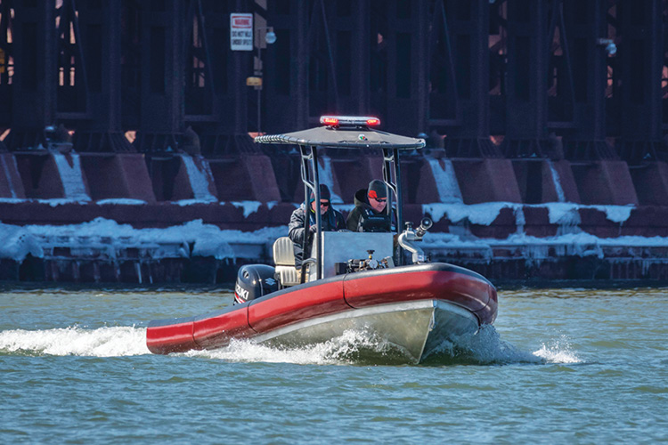 Lake Assault Boat's 22-foot RHIB is engineered for fast and nimble fire and rescue response and can operate in as little as 12 to 14 inches of water. (Photo 10 courtesy of Lake Assault Boats.)