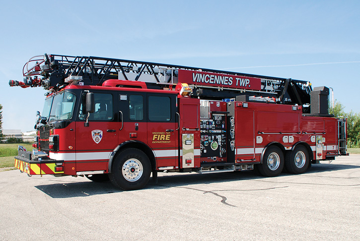 The Vincennes Township (IN) Smeal quint. It features a 105-foot Smeal steel ladder, a 2,000-gpm pump, and a 500-gallon tank. (Photos courtesy of Hoosier Fire Equipment.)