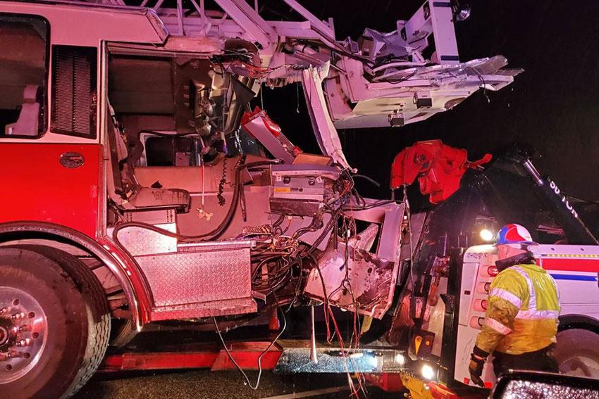 Tower ladder struck in Texas.