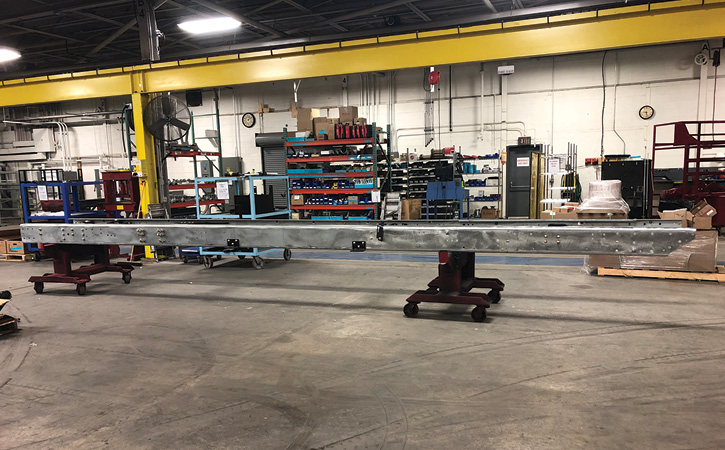 These frame rails in the KME shop have been hot dip zinc galvanized to protect against corrosion. (Photos 1-2 courtesy of KME.)