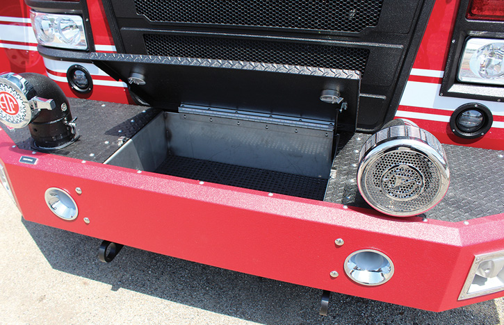 The front bumper of this HME Ahrens-Fox pumper has been coated with Line-X.