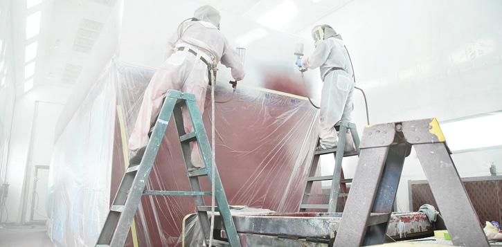 Technicians at SVI Trucks apply a PPG Delfleet Evolution coating to an apparatus body. (Photos 13-14 courtesy of SVI Trucks.)