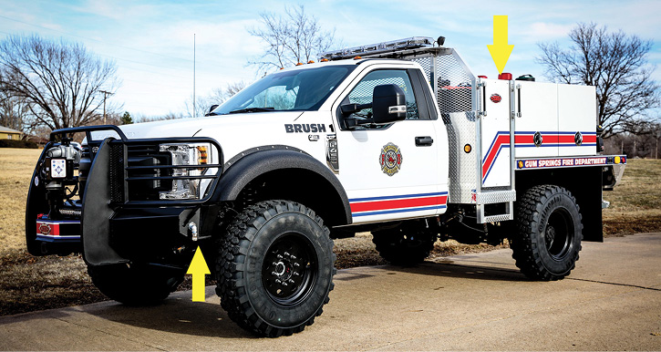 A two-door Ford F-450 was delivered to Gun Springs Fire & Rescue in Arkansas. It has a 20-inch-wide walkway between the cab and the 300-gallon tank, an onboard foam system, a monitor, and corner ground sweep nozzles on the Weis bumper.