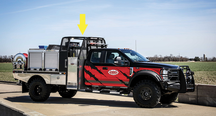 A Weis Fire demonstrator Quick Attack on a Ford F-550 Quad Cab features an NFPA 1906-compliant rollover structure that meets the side impact and crush criteria in SAE J1194 for Wheeled Agricultural Tractors. It's called the Weis Rollover Protection System (WROPS).