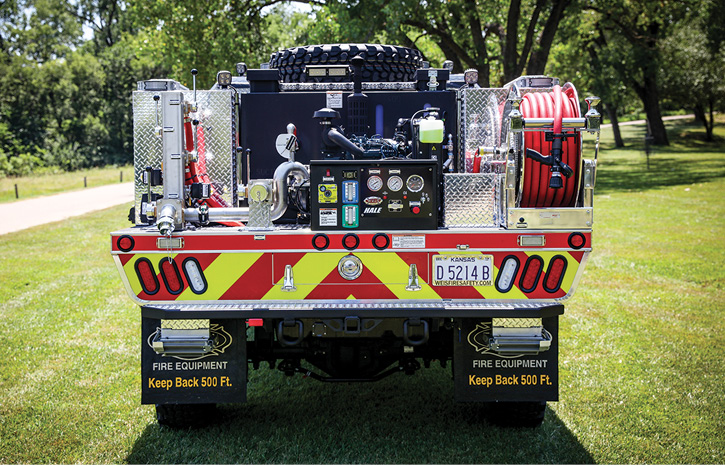 The working end of a Quick Attack brush truck showing the typical locations for the booster reel, pump and controls, and hose connections.
